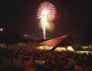 Blossom Music Center at night with fireworks!
