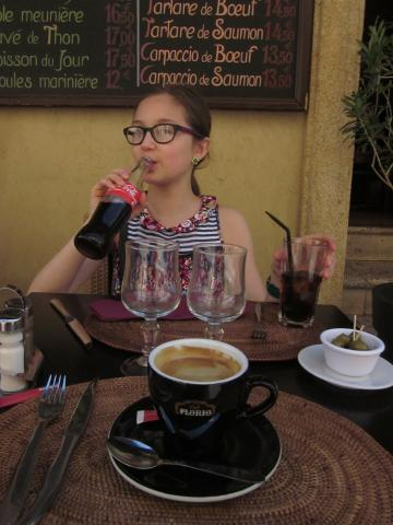 Espresso for me, Coke for Lucia in Aix en Provence.