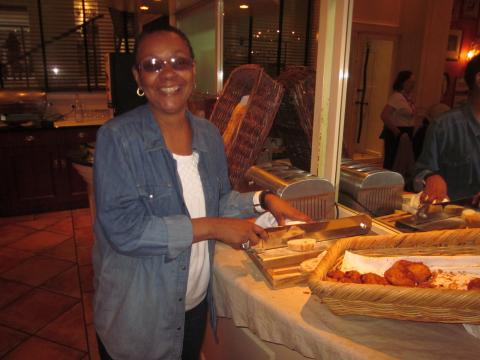 One of our traveler with the enormous baguette knife