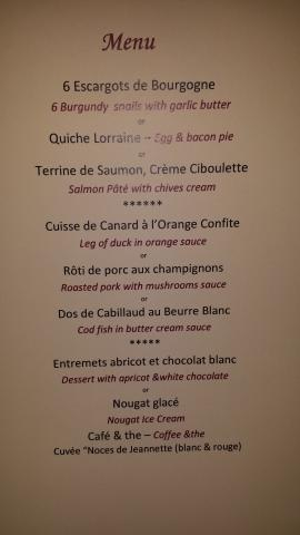 Menu for meal at Les Noces de Jeannette