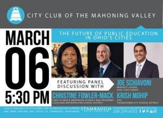 City Club event flier with panelist photos