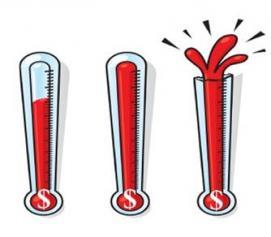 Pledge drive thermometer graphic.