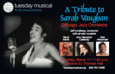 Photo of Sarah Vaughan, and event information